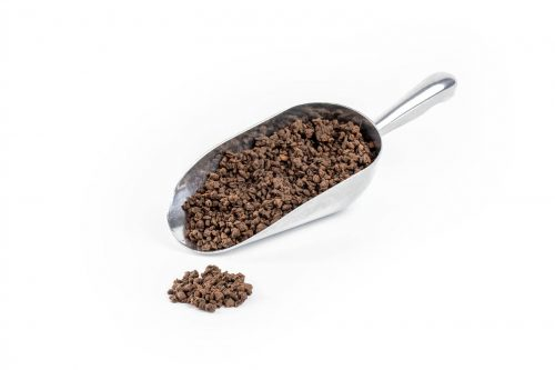 192075 - Milk Chocolate Coffee Bean Kibble in a stainless steel scoop