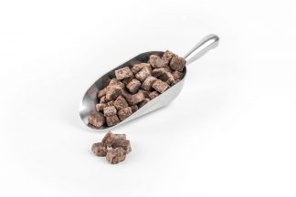 Chocolate Fudge Pieces WIthout Dairy 10-15mm in stainless steel scoop