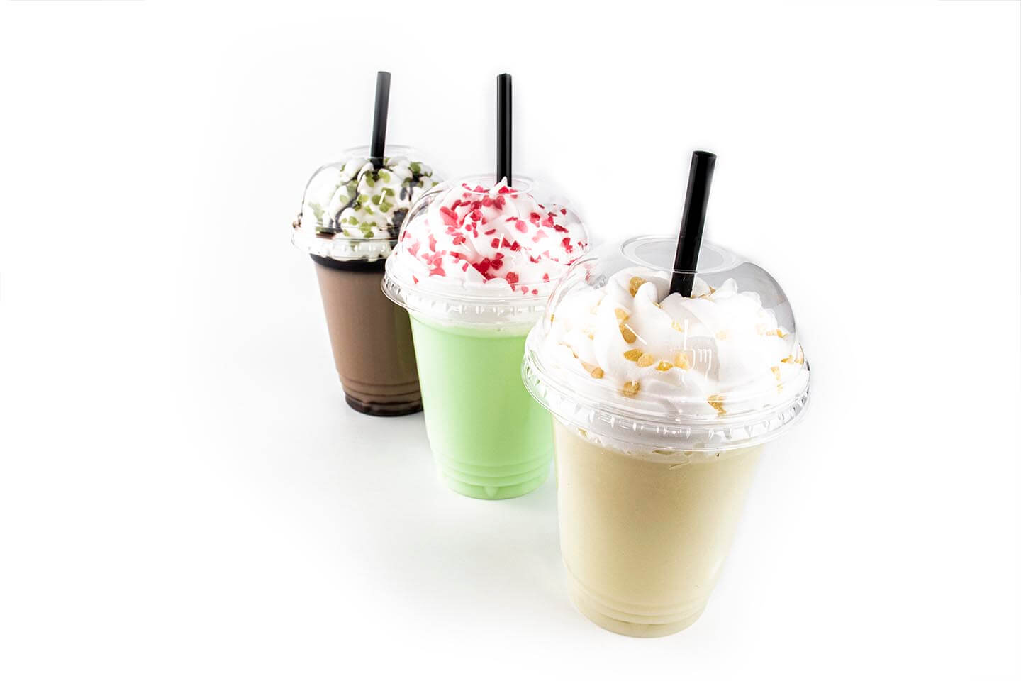 3 Types of Milkshakes with inclusions on whipped cream