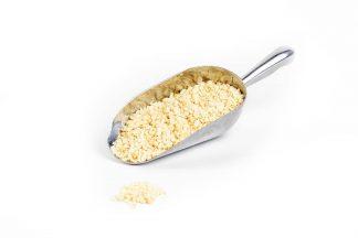 3357 - Honey Nougat Kibble in stainless steel scoop