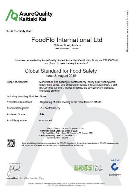2020-21 BRC Certificate for FoodFlo International Thumbnail Image