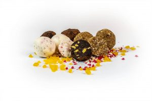 Bliss Balls group on white with loose inclusions