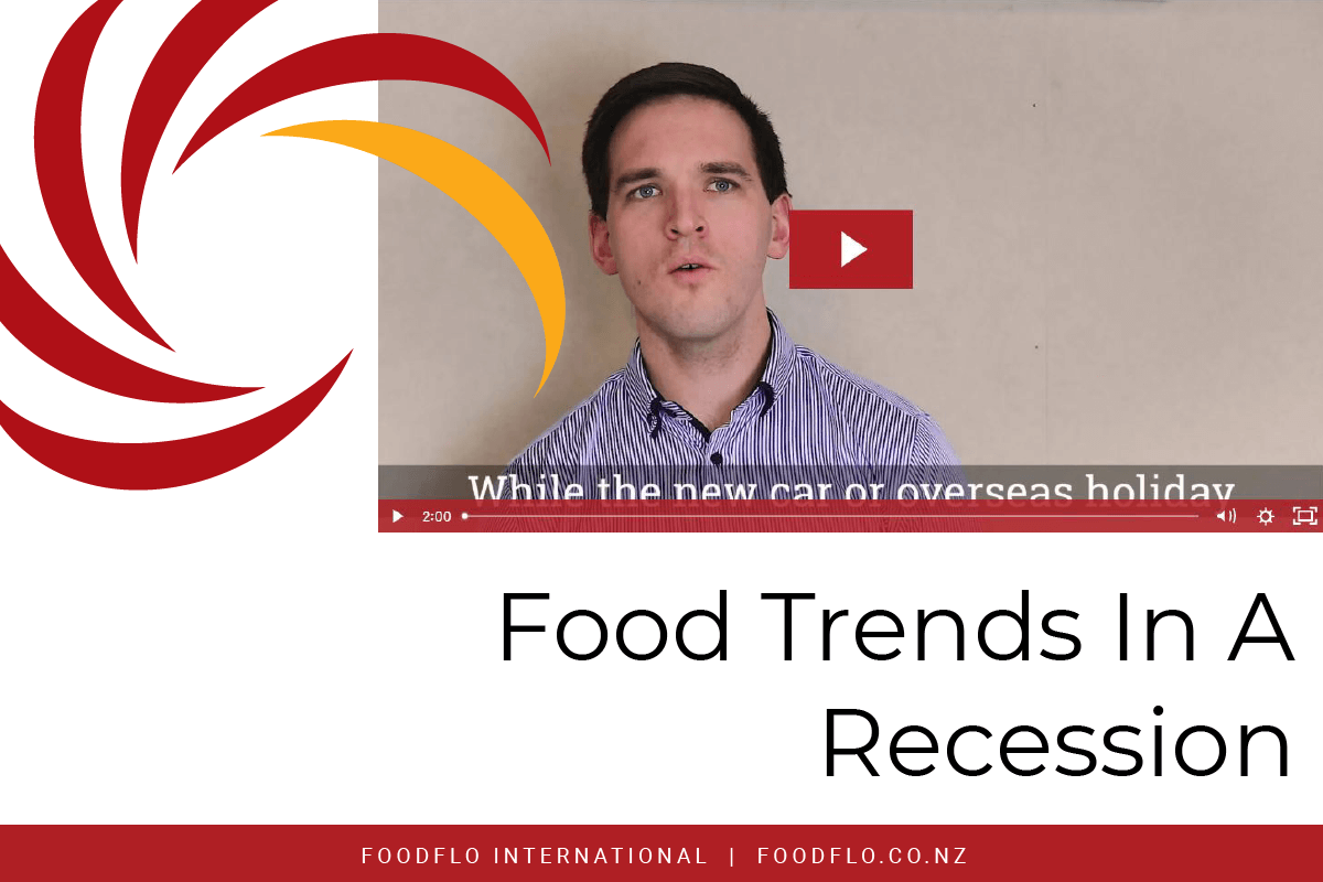 Blog Article Header Image - Food Trends In A Recession - Image of FoodFlo Swirl highlighting screencapture of Lionel Cox in Video Talking about Latest Food Trends In A Recession (Close Captioned on screen) and red footer with FoodFlo International and FoodFlo.co.nz in white writing
