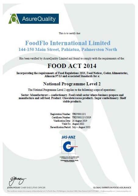 FoodFlo International NP2 Certificate Screenshot - Link to PDF