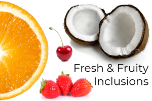 Fresh & Fruity Inclusions Header Image with cutout fruit on white baground