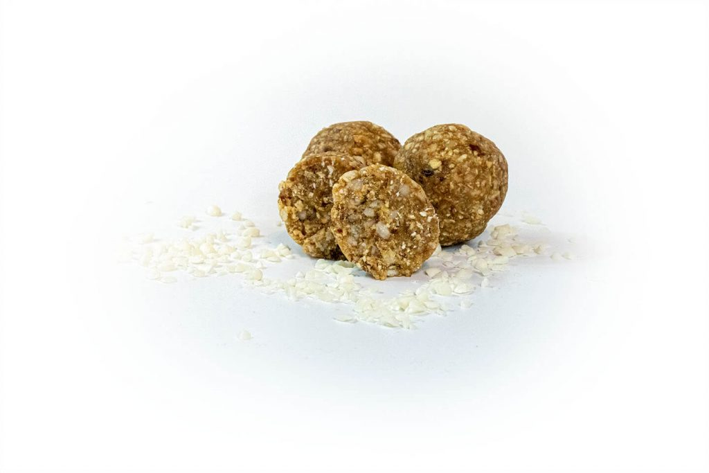 Honey Nougat Bliss Balls and inclusion on white open