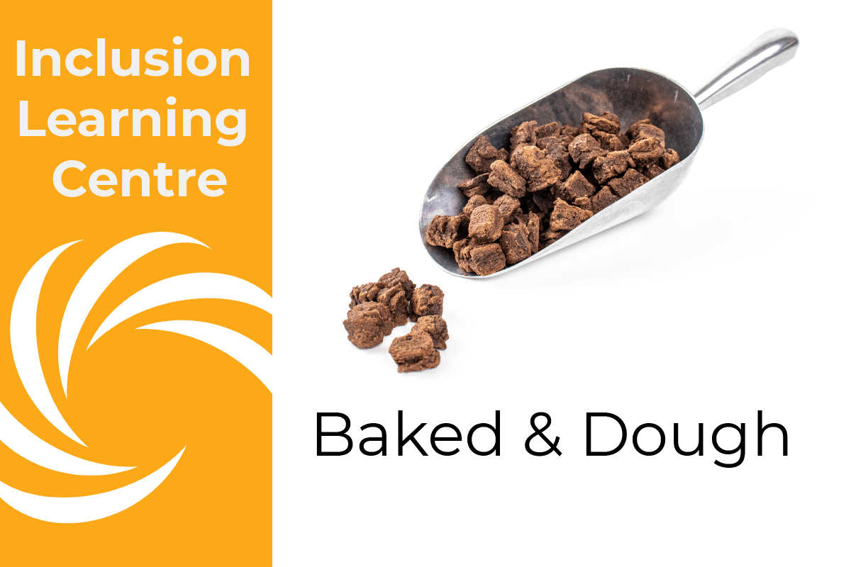 Inclusion Learning Centre Heading: Baked & Dough - with photo of stainless steel scoop and brownie pieces