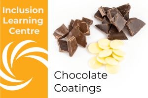 ILC Chocolate Coatings- Header image with piles of white, milk & dark chocolate on whilte background