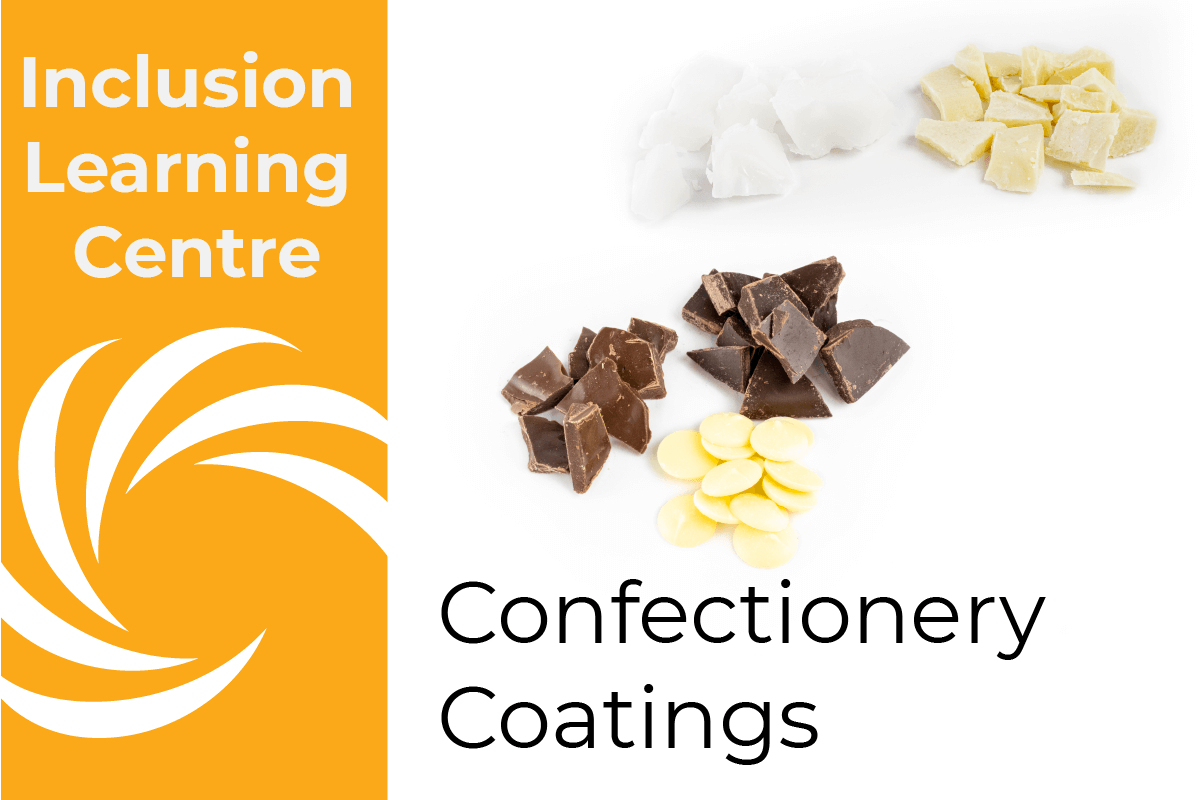 ILC Confectionery Coatings- Header image with piles of RSPO Certified Sustainable Palm Oil, Cocoa butter, white, milk 7 dark chocolate on whilte background