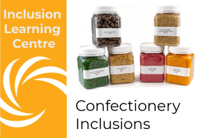 Inclusion Learning Centre - Confectionery Inclusions Title with jars of confectionery inclusion samples