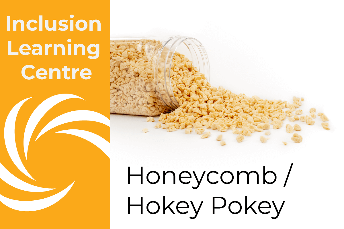 Inclusion Learning Centre E-Course Topic Header: Honeycomb/Hokey Pokey Inclusions - includes image of spilt jar of honeycomb kibble
