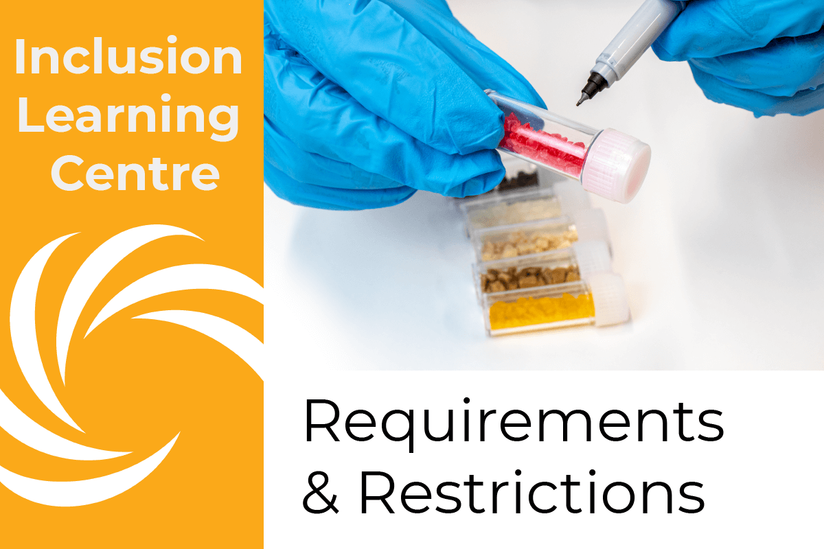 Inclusion Learning Centre E-Course Topic Header: Requirements & Restrictions - picture of technician labeling sample vial of inclusions with fine tip permanent marker
