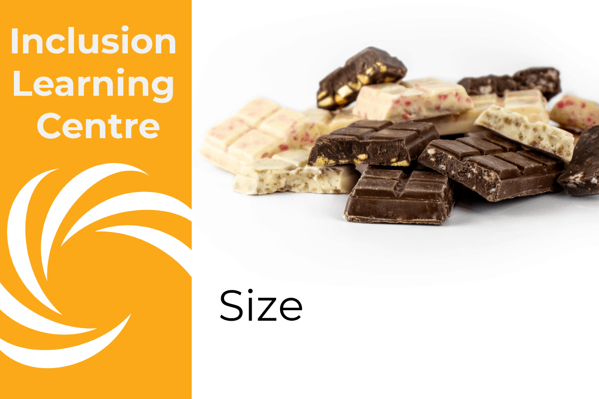 Inclusion Learning Centre E-course Topic: Size (header image with a mix of inclusion filled choc bars on white background)
