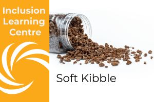Inclusion Learning Centre E-Course Topic Header: Soft Crunch/Kibble Inclusions - includes image of spilt jar of Chocolate Soft kibble
