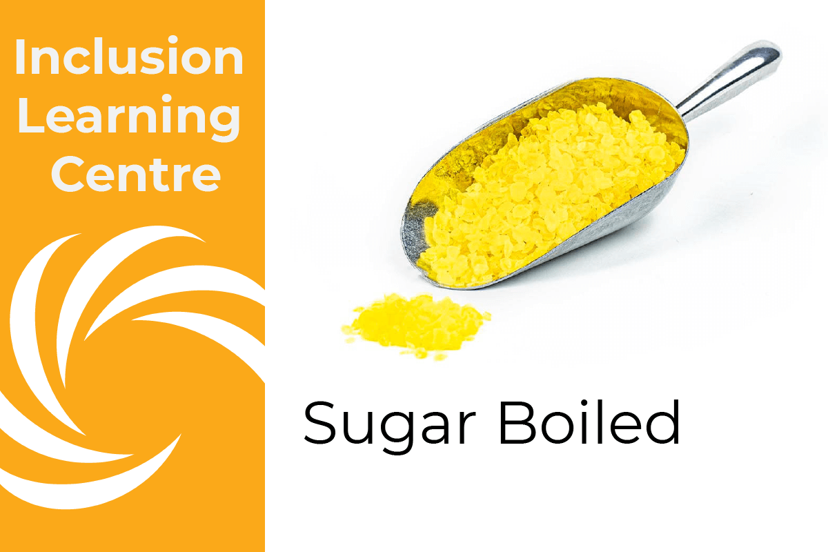 Inclusion Learning Centre E-Course Topic Header: Sugar Boiled Inclusions - includes a metal scoop filled with lemon sugar boiled kibble