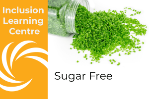 Inclusion Learning Centre E-Course Topic Header: Sugar Free Inclusions - includes image of spilt jar of Sugar Free mint kibble