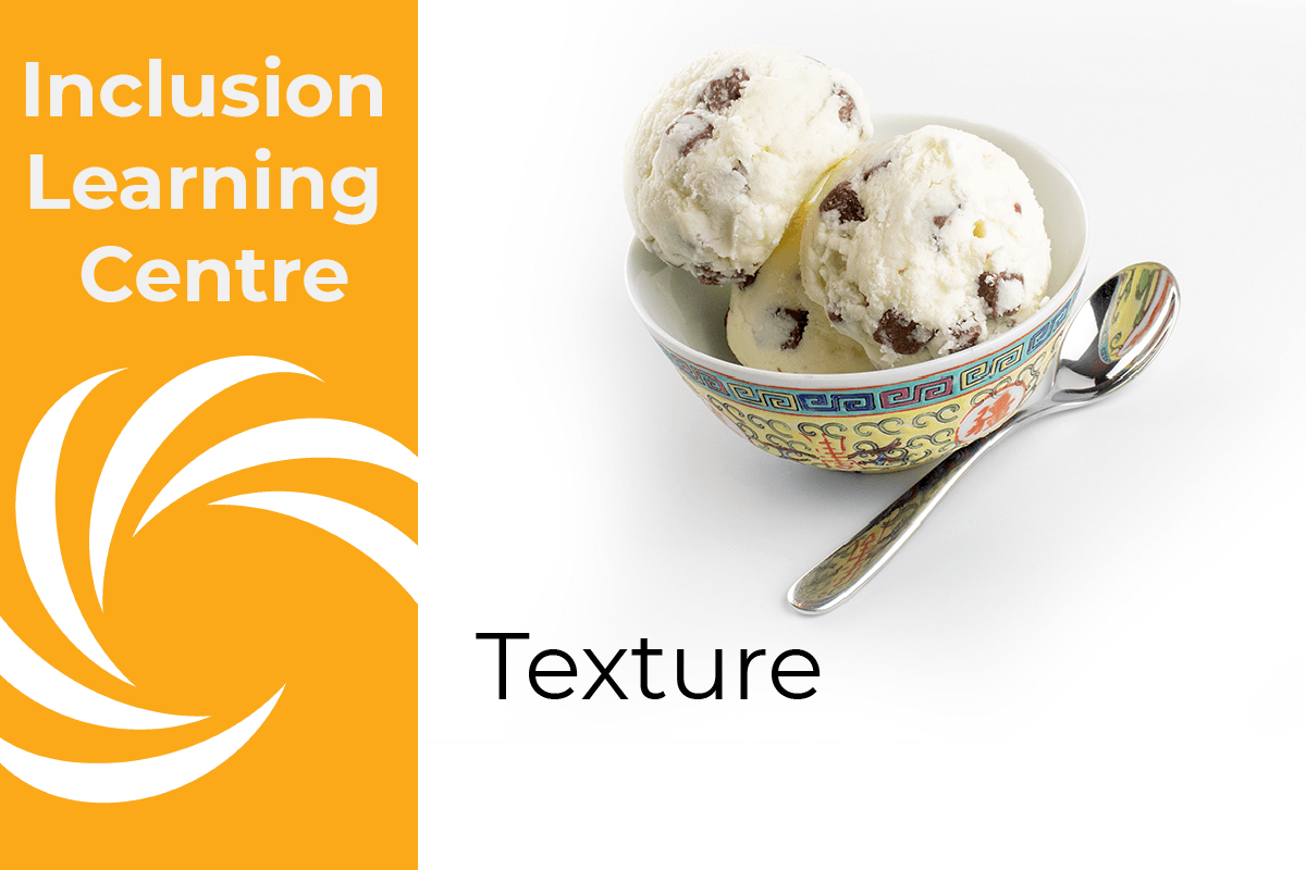 Inclusion Learning Centre - Texture Header with choc fudge ice cream in bowl with spoon