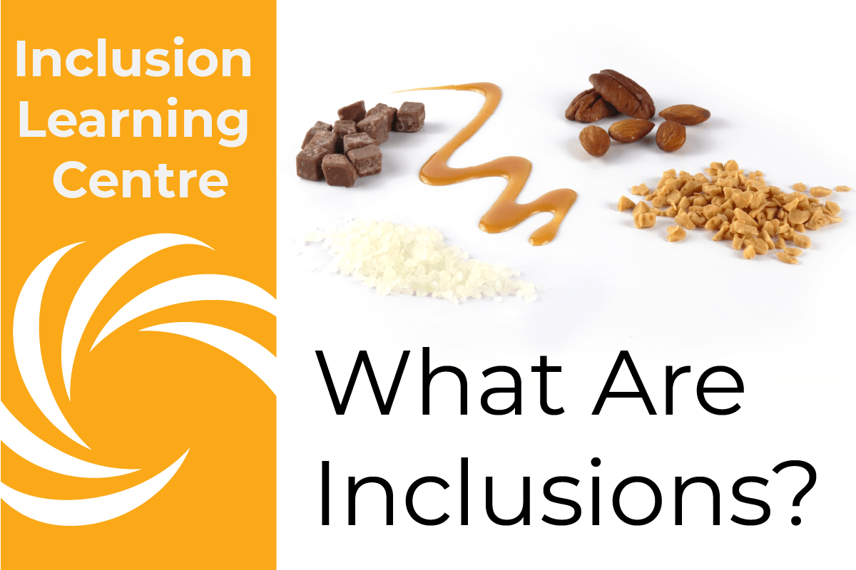 Inclusion Learning Centre - What Are Inclusions? Header with fudge, caramel sauce, nuts, honeycomb, and sugar free kibble in the picture