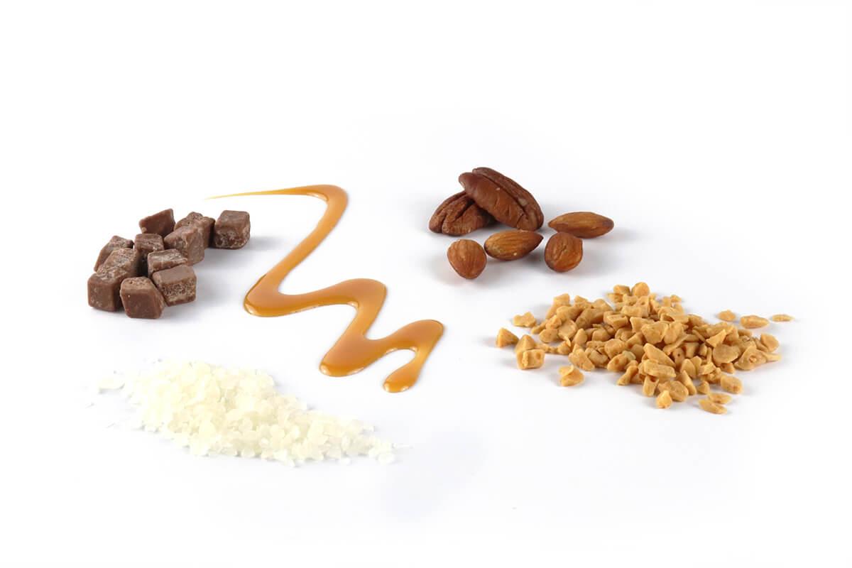 Mixed inclusion types, fudge, kibble, honeycomb, caramel & nuts