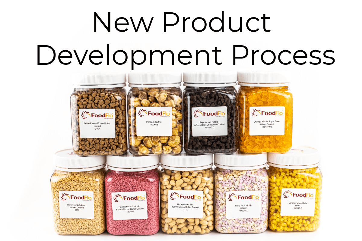New Product Development Process Header Image with large jars of multiple inclusions on white background