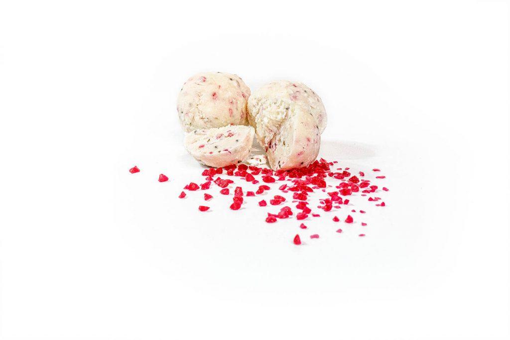 Raspberry Chia White Choc Bliss Balls