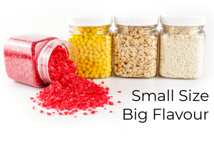 Small size - big flavour header with four jars of inclusions on white background