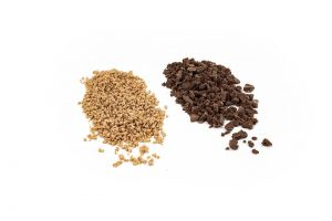Soft Crunch Kibble - Small and Large kibbles side by side (small 2-4mm Spicy Ginger Soft Kibble beside a larger 2-12mm Biscuit Soft Crunch)