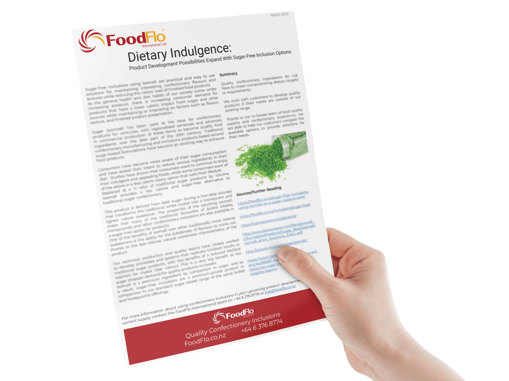Sugar Free White Paper held in right hand