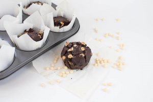 White Chocolate Caramel Fudge Balls in Choc Muffins w tray loose inclusions