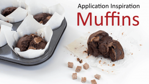 application inspiration - Muffins header image with salted caramel muffins and tray on white background and loose inclusions