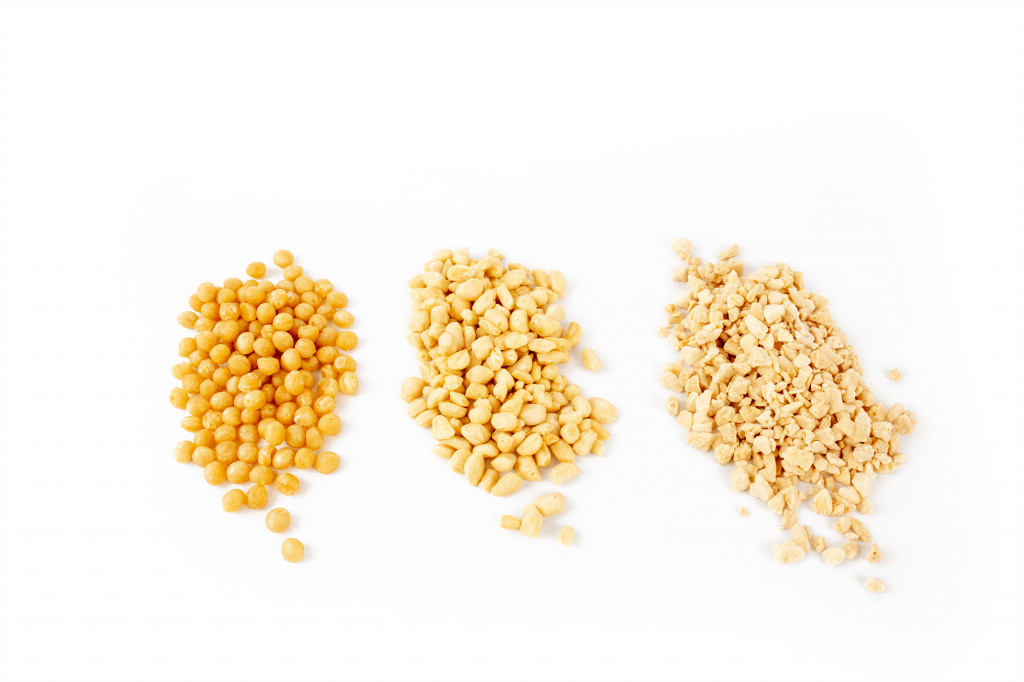 Honeycomb / Hokey Pokey ball, piece and kibble side by side against a white background